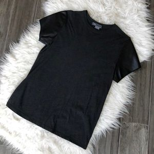 Vince Tee with Leather Sleeves